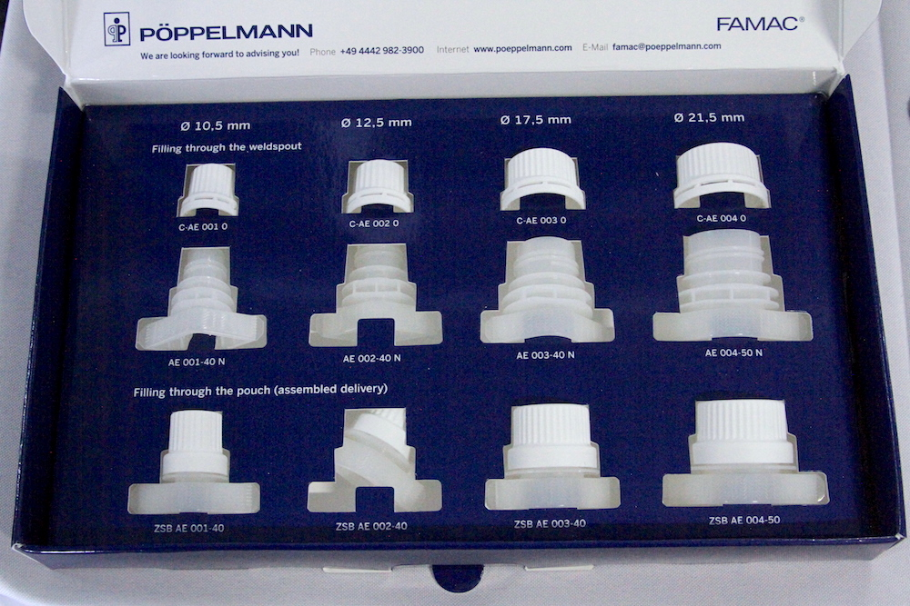 POPPELMANN FAMAC screw caps and weldspout sizes