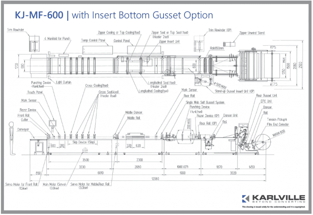 KJ-MF-600 w Insert Bottom Gusset Option